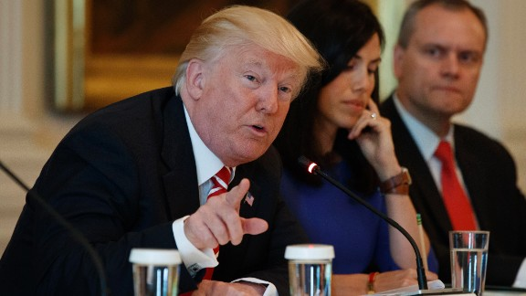 """President Donald Trump speaks during the """"American Leadership in Emerging Technology"""" event in the East Room of the White House, Thursday, June 22, 2017, in Washington. From left, Trump, Trumbull Unmanned CEO Dyan Gibbens, and Honeywell CEO Darius Adamczyk. (AP Photo/Evan Vucci)"""