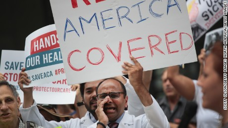 CHICAGO, IL - JUNE 22:  Demonstrators protest changes to the Affordable Care Act  on June 22, 2017 in Chicago, Illinois. Senate Republican's unveiled their revised health-care bill in Washington today, after fine tuning it in behind closed doors.  (Photo by Scott Olson/Getty Images)