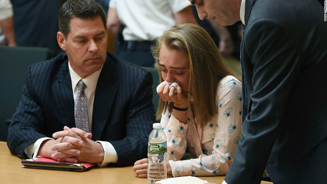 "Michelle Carter cries in a Taunton, Massachusetts, courtroom on Friday, June 16, after <a href=""http://www.cnn.com/2017/06/16/us/michelle-carter-texting-case/index.html"" target=""_blank"">being found guilty of involuntary manslaughter</a> in the 2014 death of her boyfriend, Conrad Roy III. Roy poisoned himself by inhaling carbon monoxide in his pickup truck. The ruling could set legal precedent for whether it's a crime to tell someone to commit suicide."