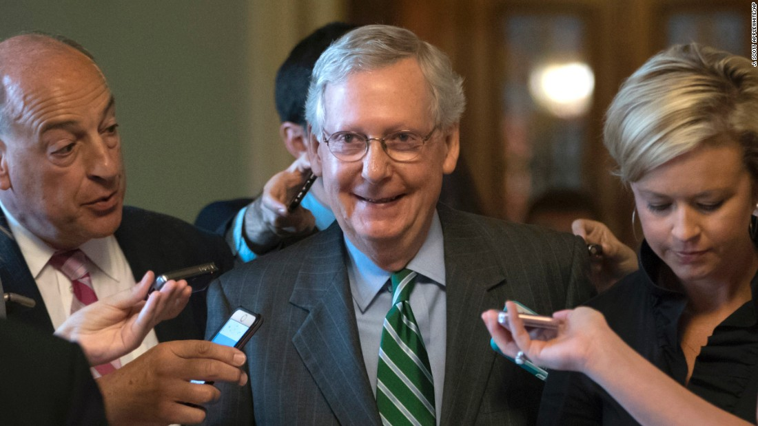 "Senate Majority Leader Mitch McConnell smiles after announcing <a href=""http://www.cnn.com/2017/06/22/politics/senate-health-care-bill/index.html"" target=""_blank"">a new health care bill</a> on Thursday, June 22. The bill, written by Senate Republicans entirely behind closed doors, would repeal Obamacare's individual mandate, drastically cut back federal support of Medicaid and eliminate Obamacare's taxes on the wealthy, insurers and others. McConnell is pressing for a vote next week."