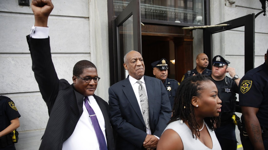 "Andrew Wyatt, a spokesman for comedian Bill Cosby, raises his fist as Cosby exits a courthouse in Norristown, Pennsylvania, on Saturday, June 17. Cosby was facing three counts of aggravated indecent assault from a 2004 case involving Andrea Constand, an employee at his alma mater, Temple University. But <a href=""http://www.cnn.com/2017/06/17/us/bill-cosby-verdict-watch/index.html"" target=""_blank"">it ended in a mistrial</a> after a jury was unable to come to a unanimous decision."