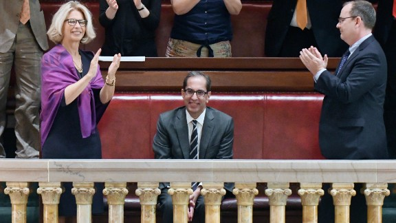 Friends and family applaud as New York Court of Appeals Associate Judge Paul Feinman, center, is confirmed on Wednesday, June 21, 2017.
