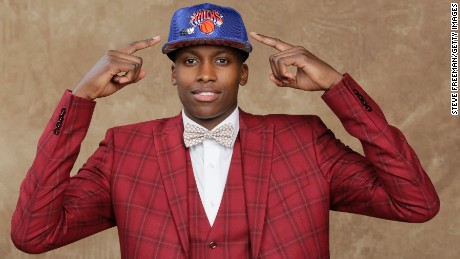 Ntilikina poses for a portrait after being drafted No. 8 overall to the New York Knicks during the 2017 NBA Draft at Barclays Center in Brooklyn, New York.