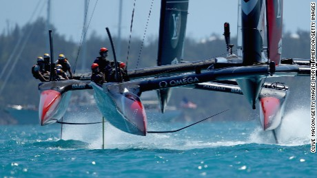 Emirates Team New Zealand during day two of the Americas Cup Match.