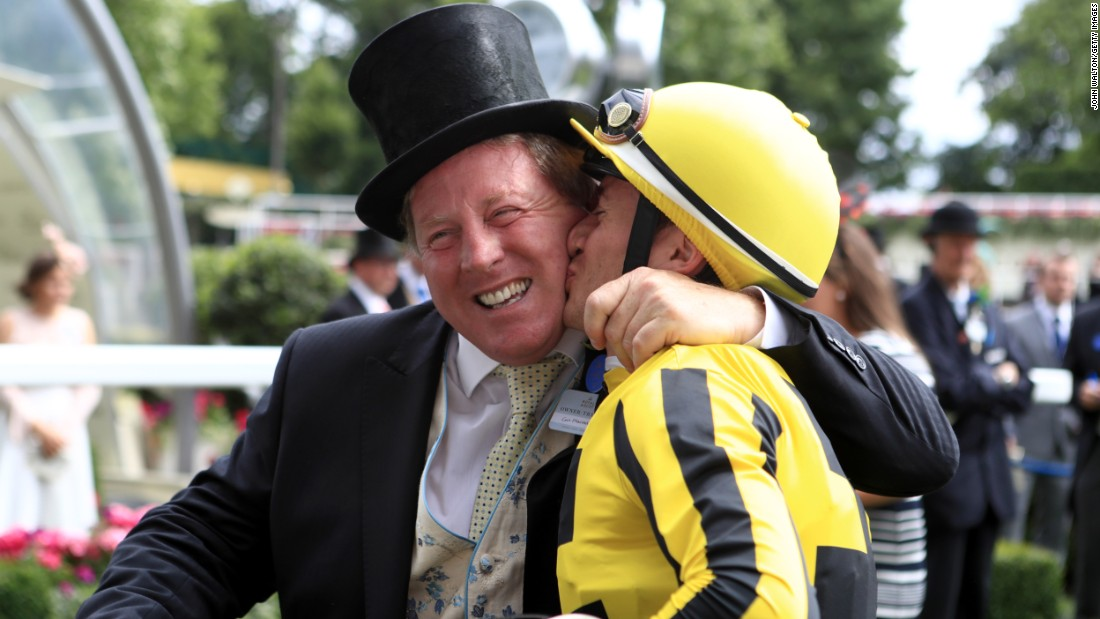 Jockey Antoine Hamelin could not contain his joy and celebrated winning the Albany Stakes with owner Con Marnane