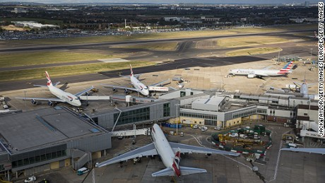 LONDON, ENGLAND - OCTOBER 11: A general view of aircraft at Heathrow Airport on October 11, 2016 in London, England. The UK government has said it will announce a decision on airport expansion soon. Proposals include either a third runway at Heathrow, an extension of a runway at the airport or a new runway at Gatwick Airport. (Photo by Jack Taylor/Getty Images)