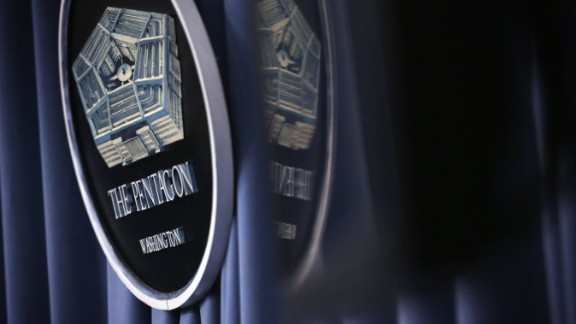 ARLINGTON, VA:  A Pentagon sign is seen during a press briefing at the Pentagon Briefing Room August 29, 2014 in Arlington, Virginia. (Alex Wong/Getty Images)