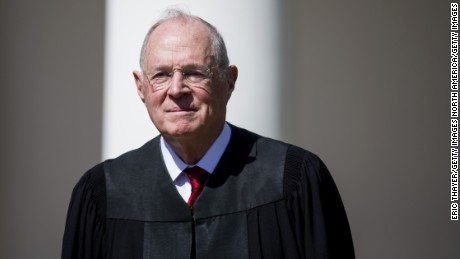 U.S. Supreme Court Associate Justice Anthony Kennedy is seen during a ceremony in the Rose Garden at the White House April 10, 2017 in Washington, DC.