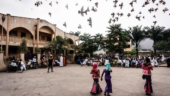 Muslims congregate in a square in Kinshasa, Democratic Republic of the Congo.