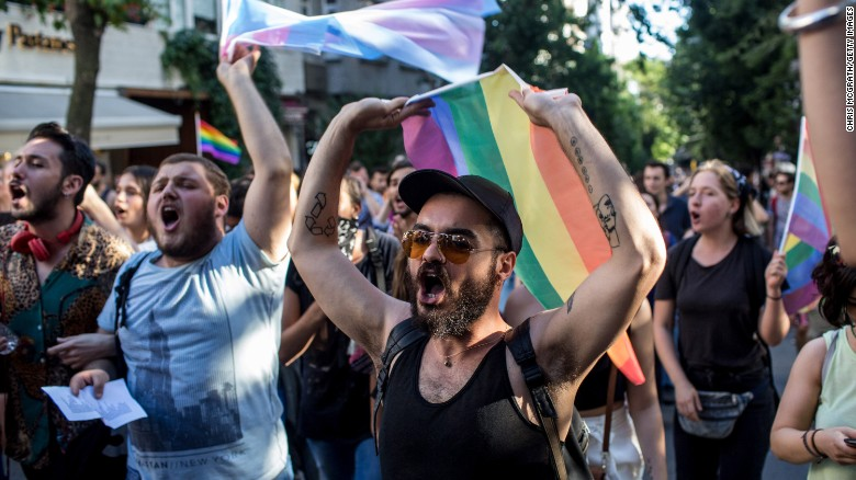Pride marchers on June 25, 2017, in Istanbul, Turkey. The 2017 LGBT Pride March there was banned by authorities, but organizers defied the order before being dispersed by police and tear gas.