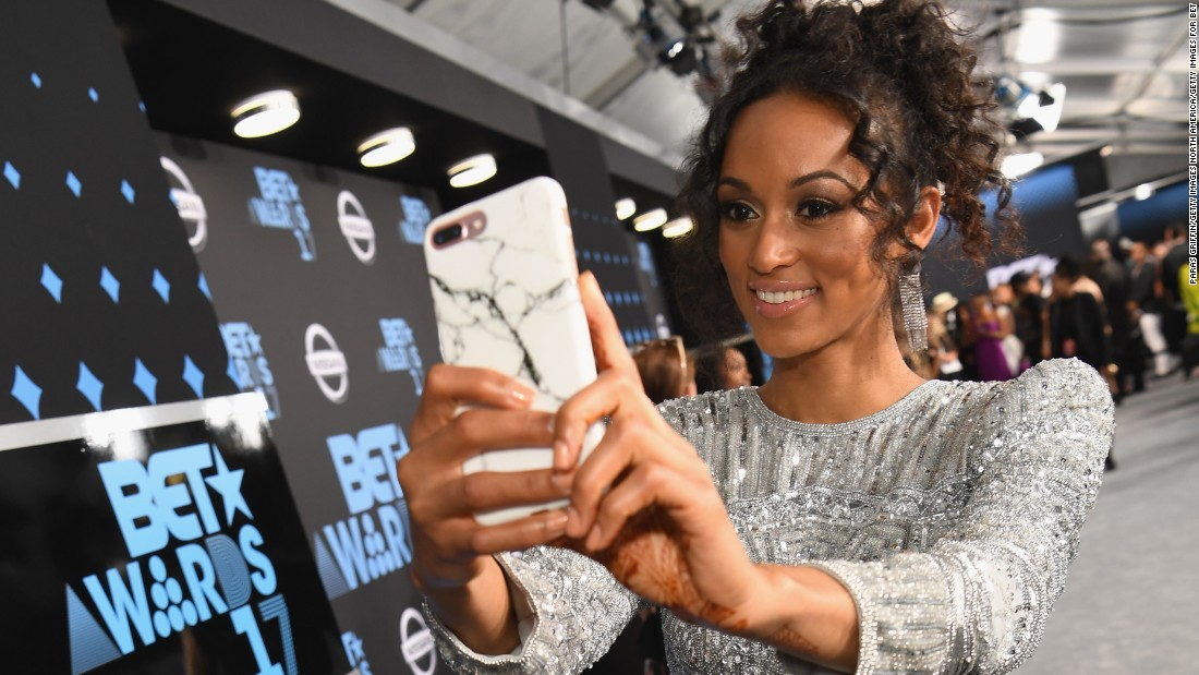Miss USA 2017 Kara McCullough takes a selfie at the 2017 BET Awards at Staples Center on in Los Angeles, California.
