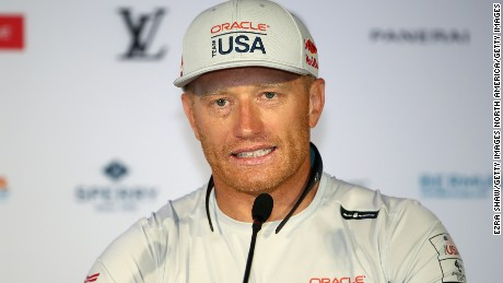 HAMILTON, BERMUDA - JUNE 16:  Jimmy Spithill, helmsman of ORACLE TEAM USA, speaks to the media during a press briefing leading up to the start of the America's Cup Final on June 16, 2017 in Hamilton, Bermuda. ORACLE TEAM USA will face Emirates Team New Zealand in the final.  (Photo by Ezra Shaw/Getty Images)