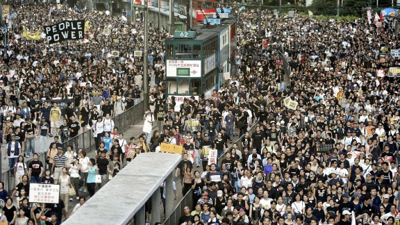 More than 500,000 people took to the streets in 2003 to protest a proposed anti-subversion law.