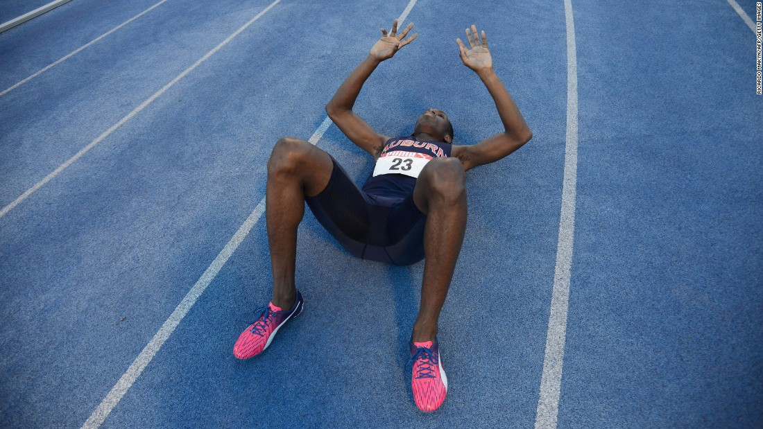 Nathon Allen reacts after winning the 400 meters at Jamaica's National Championships on Sunday, June 25.
