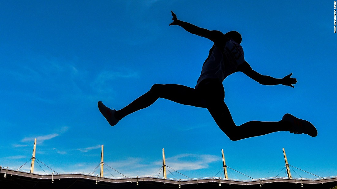 French long jumper T.M. Kabwatanda competes at the European Team Championships in Lille, France, on Friday, June 23.
