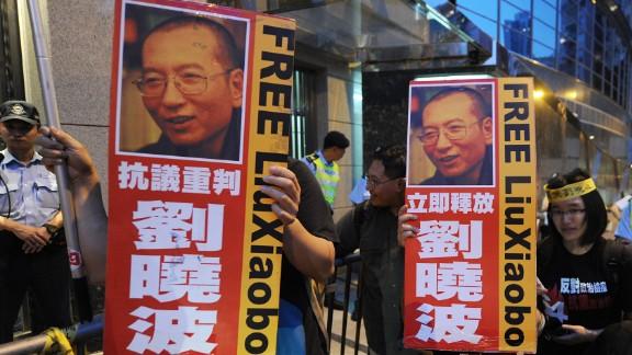 Liu Xiaobo has become an icon of the democracy movement in Hong Kong.