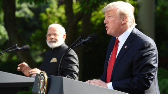 US President Donald Trump (R) and Indian Prime Minister Narendra Modi speak to the press in the Rose Garden of the White House in Washington, DC, on June 26, 2017. / AFP PHOTO / SAUL LOEBSAUL LOEB/AFP/Getty Images