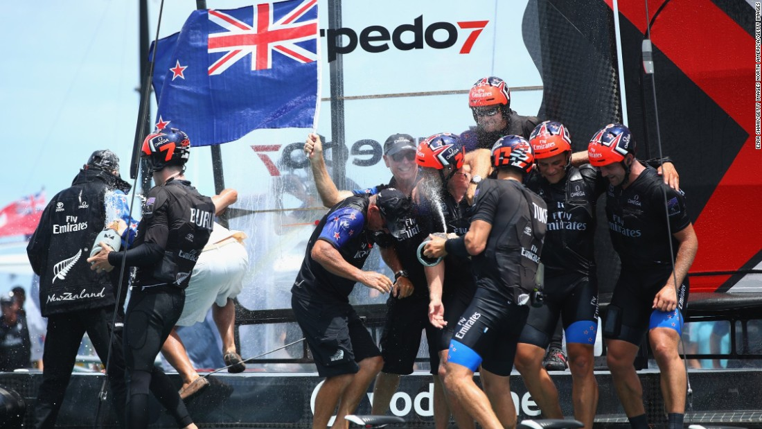 Emirates Team New Zealand, helmed by Peter Burling, celebrate after winning the America's Cup Match in Hamilton, Bermuda.
