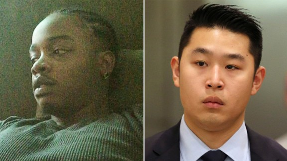 Akai Gurley on left and Peter Liang, who was found guilty of manslaughter, on right.