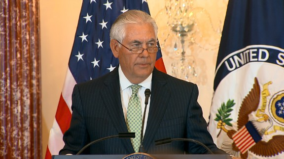 US Secretary of State Rex Tillerson reveals the Trafficking in Persons Report at the US Department of State.