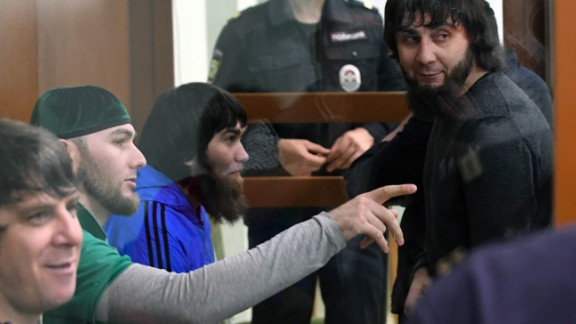 Zaur Dadayev (R), charged with masterminding and carrying out the killing of Boris Nemtsov, stands in court Tuesday.
