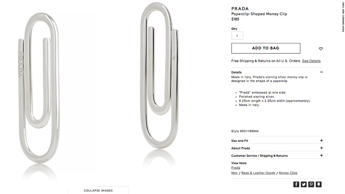Prada is selling a paper clip for $185, and people aren't taking it well