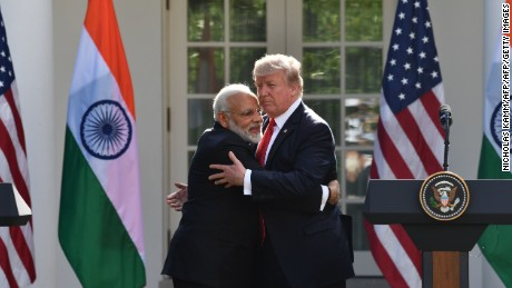 Watch Trump and Modi's bear hug