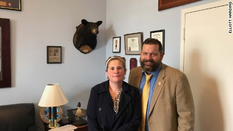 Rebecca Wood with Virginia Rep. Tom Garrett, a Republican.