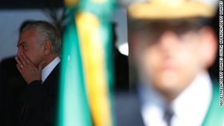 BRASILIA, BRAZIL - JUNE 09: President of Brazil Michel Temer attends the ceremony to commemorate the 152nd anniversary of the Riachuelo Naval Battle - Data Magna of the Navy - and the imposition of the Decorations of the Order of Naval Merit on June 9, 2017 in Brasilia, Brazil. (Photo by Igo Estrela/Getty Images)