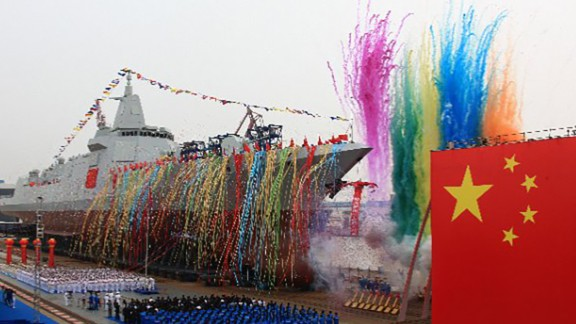 China's new 10,000-tonne guided-missile destroyer enters the water at Shanghai's Jiangnan Shipyard during a launching ceremony on the morning of June 28, 2017. As China's new domestically-produced destroyer, it is equipped with latest air defense, anti-missile, anti-ship and anti-submarine weapon systems. (eng.chinamil.com.cn / Photo by Chen Guoquan and Yin Hang)