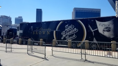 Zac Brown Band's truck, Cookie, parked outside of Philips Arena on Wednesday.