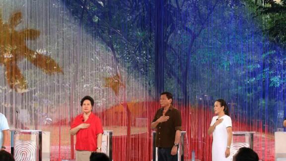 Philippines President Rodrigo Duterte (center) before the start of the presidential debate before his election in April 2016.