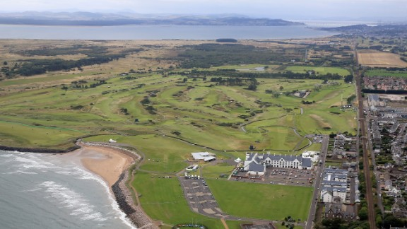 CARNOUSTIE, SCOTLAND - SEPTEMBER 25:  An aerial view of the town of Carnoustie and the golf courses during practice for the 2013 Alfred Dunhill Links Championship on September 25, 2013 in Carnoustie, Scotland.  (Photo by David Cannon/Getty Images)