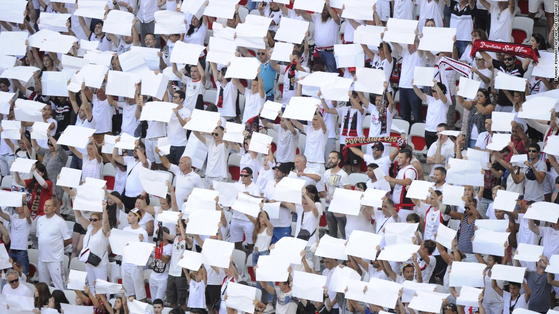 "Nice supporters in the grandstand held white placards in tribute to the victims of the Bastille Day attack in Nice on the club's opening day last August. ""The club helped a lot after the attacks,"" says Nice native and club supporter Colombo."