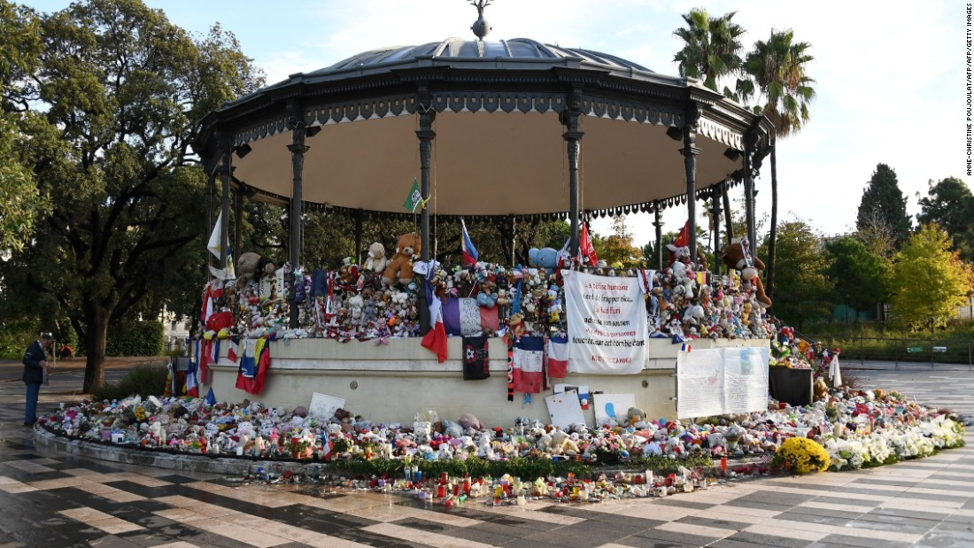Toys were placed in commemoration to the victims in front of a pavilion at the Promenade des Anglais in Nice -- the long seafront boulevard where the attack took place. A truck driven by an assailant rammed into crowds celebrating Bastille Day, killing 86 people and injuring more than 450.