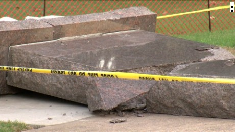 Aftermath of destroyed 10 Commandments monument on Arkansas state Capitol grounds