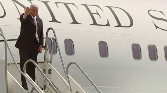 US Vice President Mike Pence arrives in Cleveland, Ohio.