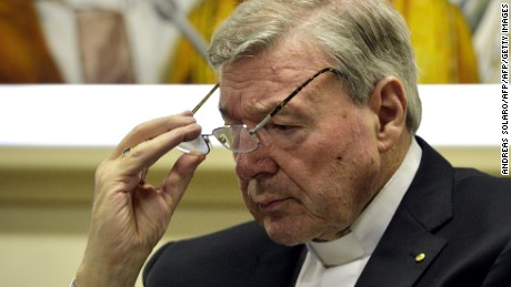 "Australian Cardinal George Pell, Prefect of the Secretariat for the Economy of the Holy See, attends a press conference on March 31, 2014 in Vatican. Cardinal George Pell and Italian writer Francesco Lozupone presented the book ""Co-responsability and transparency in the administration of church property"".  AFP PHOTO / ANDREAS SOLARO        (Photo credit should read ANDREAS SOLARO/AFP/Getty Images)"