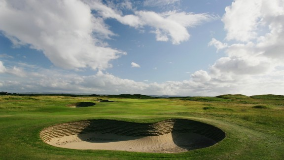 The heavily bunkered appraoch to the par 5 3rd hole on the Royal Liverpool Golf Course, on June 10, 2004 in Hoylake, England.