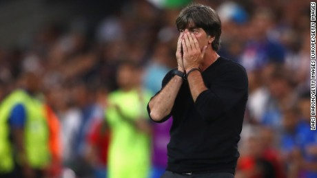 MARSEILLE, FRANCE - JULY 07:  Joachim Loew head coach of Germany reacts on the touchline during the UEFA EURO semi final match between Germany and France at Stade Velodrome on July 7, 2016 in Marseille, France.  (Photo by Lars Baron/Getty Images)