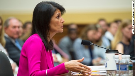 US Ambassador to the UN Nikki Haley testifies during a US House Foreign Affairs Committee hearing on Capitol Hill in Washington, DC, June 28, 2017.