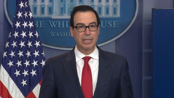 United States Secretary of the Treasury Steven Mnuchin speaks at a White House press briefing.
