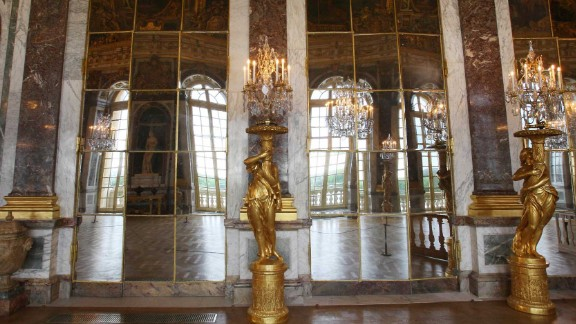 The Hall of Mirrors -- composed of 357 mirrors -- was painted by French artist Charles Le Brun (1619-1690).