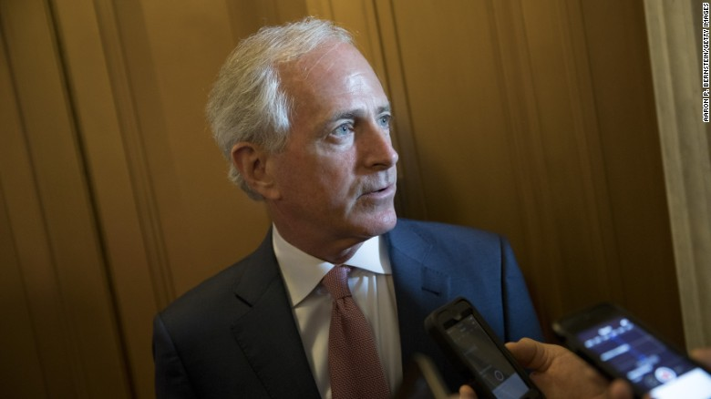 Sen. Bob Corker (R-TN) speaks to reporters on Capitol Hill May 10, 2017 in Washington, DC. Senators from both parties are scrambling to react to President Donald Trump's surprise dismissal of FBI Director James Comey.