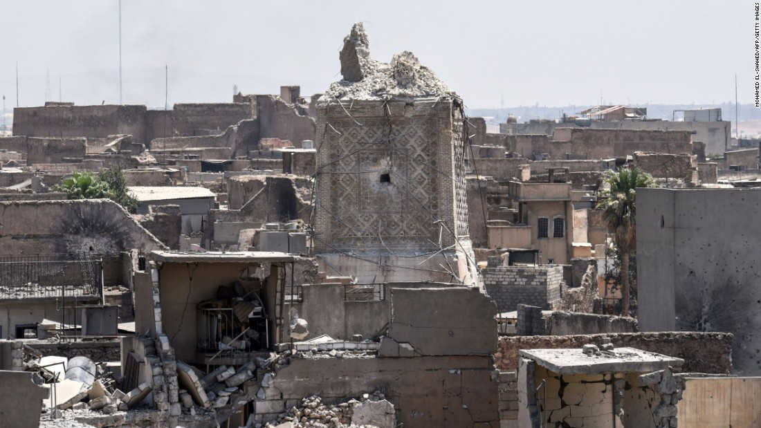 "The remnants of Mosul's ancient leaning minaret are seen in the Old City on Sunday, June 25. ISIS' claim that US warplanes were responsible for the <a href=""http://www.cnn.com/2017/06/21/world/mosul-iraq-mosque-destroyed/index.html"">destruction of the minaret </a>is ""1,000% false,"" US officials told CNN."