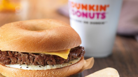 Dunkin' Donuts says its steak-and-egg sandwich contains Angus beef.