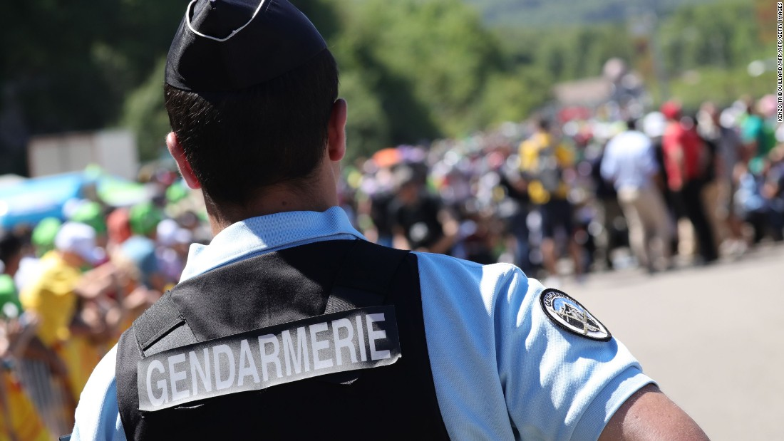 However, France remains in a state of emergency and on high alert to a possible terror attack. A French gendarme is pictured standing guard at the departure line prior to the start of the 209km sixteenth stage of the 103rd edition of the Tour de France cycling race on July 18, 2016 between Moirans-en-Montagne and Berne.