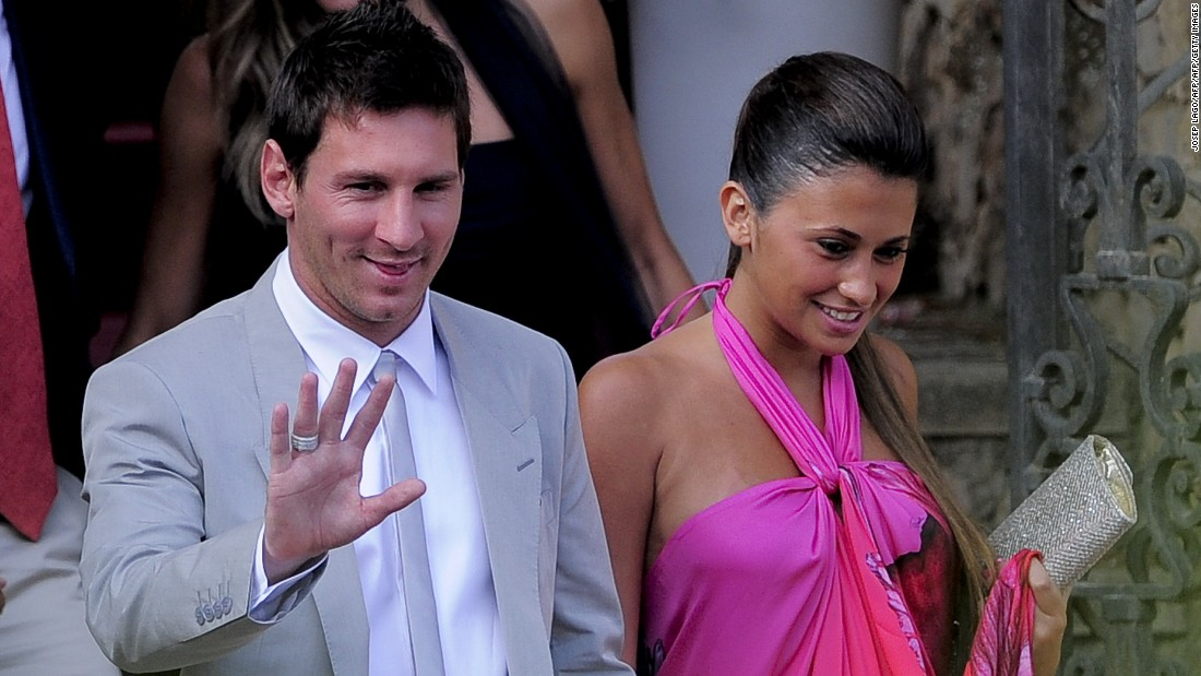 The couple are seen arriving for the wedding of Messi's teammate Andres Iniesta in Altafulla, Spain in July, 2012. Among guests expected at Messi and Roccuzzo's wedding are some of Messi's current and former teammates, including Gerard Pique and his pop star wife, Shakira.