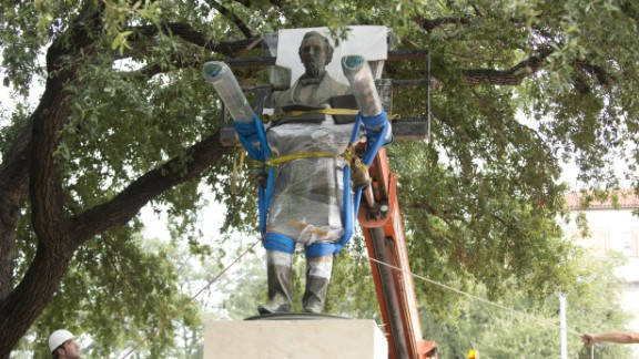 A statue of Confederate leader Jefferson Davis is removed in 2015 from University of Texas' South Mall.
