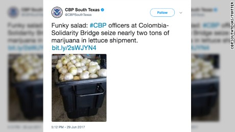 South Texas border patrol tweeted about the marijuana seizure in Laredo.